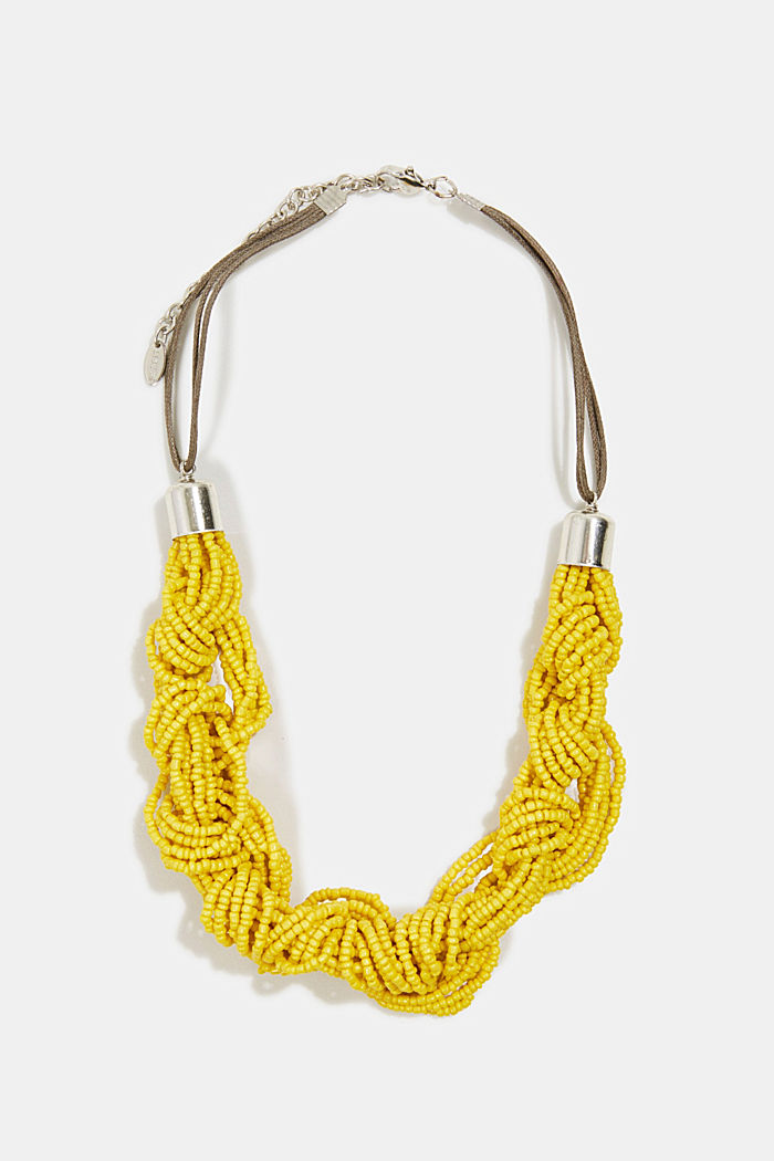 Necklace with knotted glass beads, YELLOW, detail image number 0