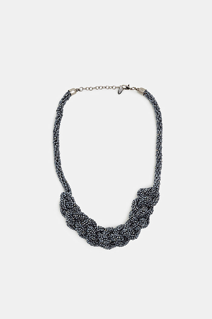 Statement necklace with plastic beads, BLACK, detail image number 0