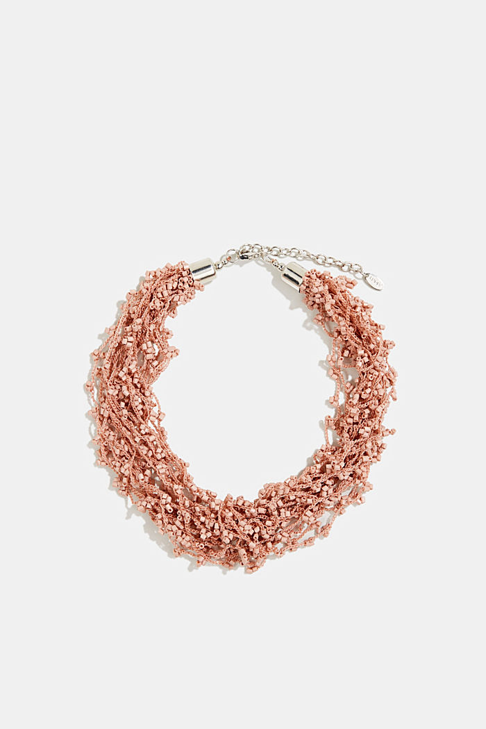 Statement necklace with glass beads, ROSEGOLD, detail image number 0