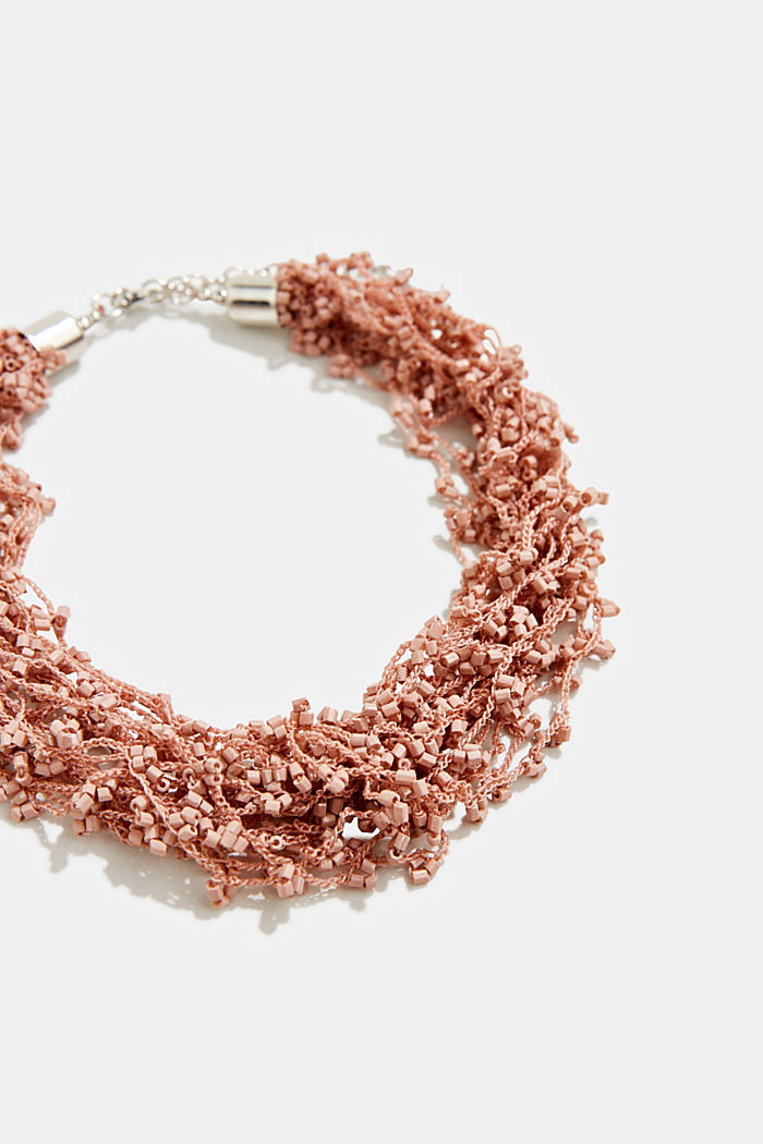 Statement necklace with glass beads, ROSEGOLD, detail image number 1