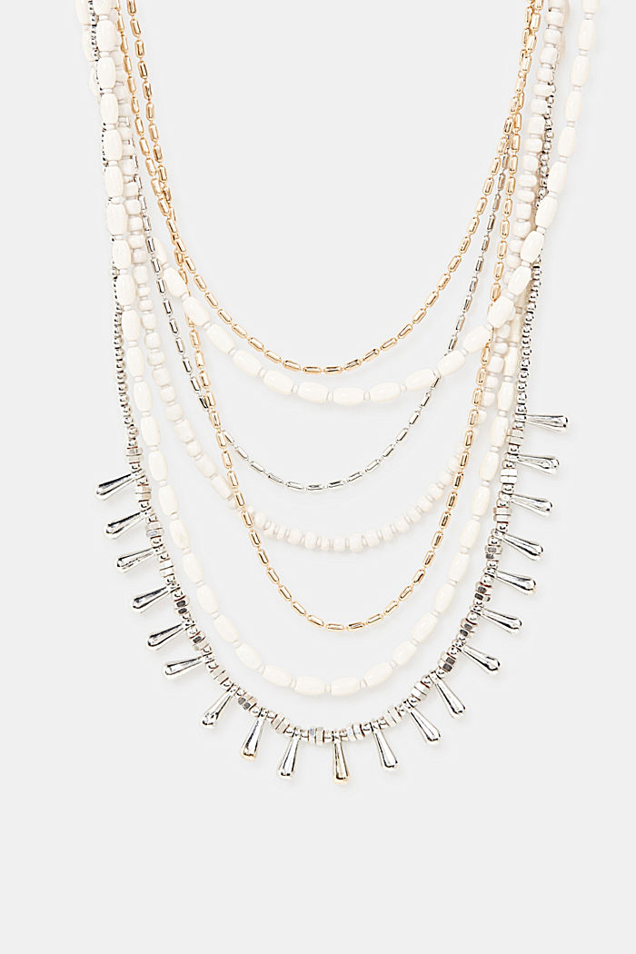 Multi-strand statement necklace, WHITE, detail image number 0