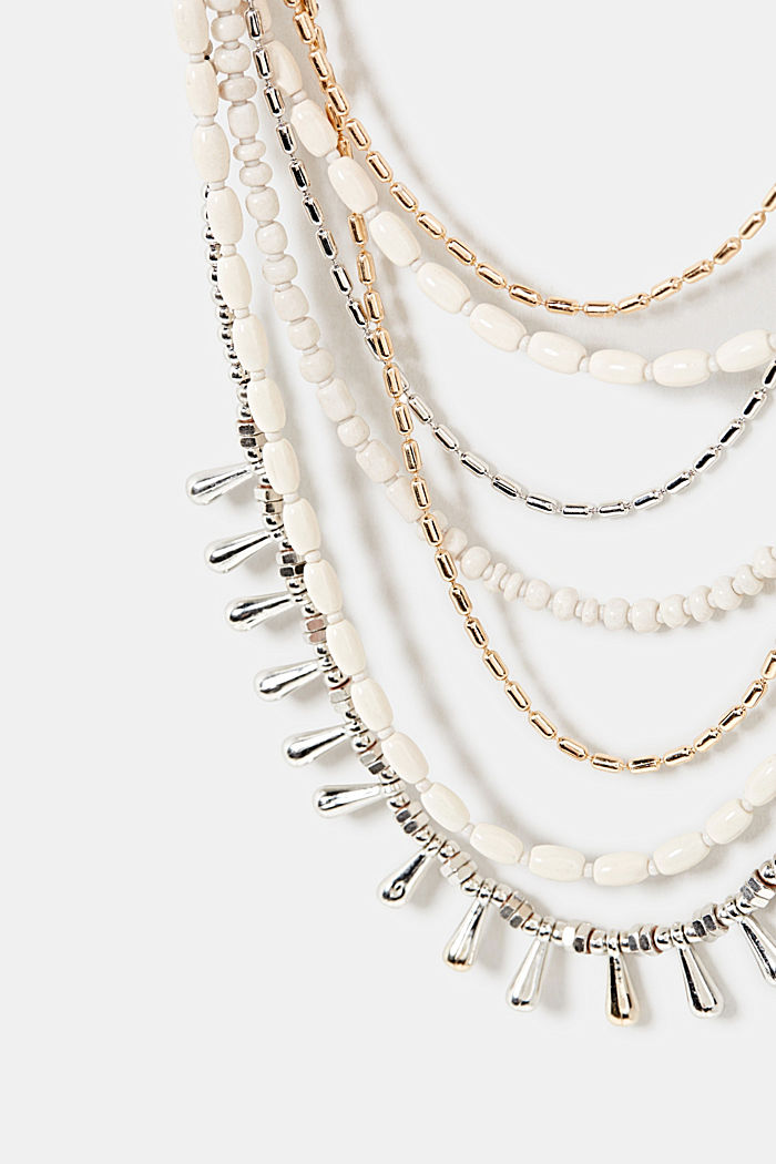 Multi-strand statement necklace, WHITE, detail image number 1