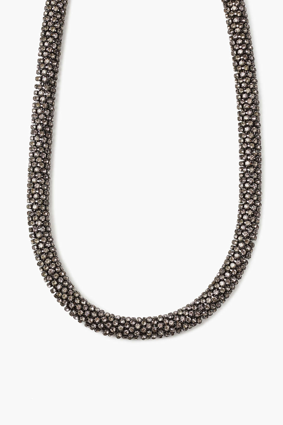 Collier tendance gris à strass