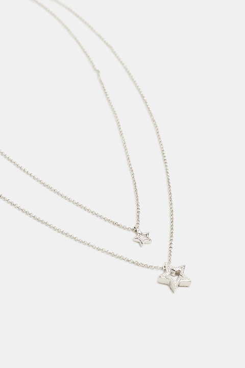 Double-strand necklace with star pendants