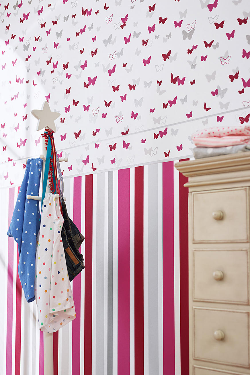 Sweet Butterfly Striped kids wallpaper
