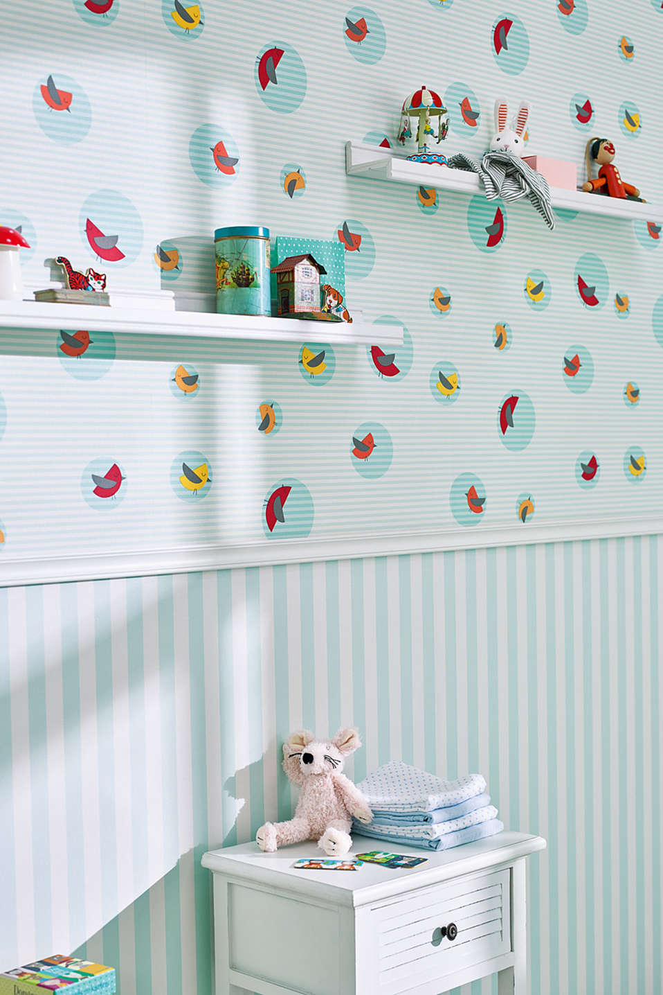 Lienzo de estilo infantil Sky Birds Striped