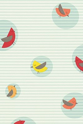 Kids wallpaper High Sky Birds Patterned, one colour, detail
