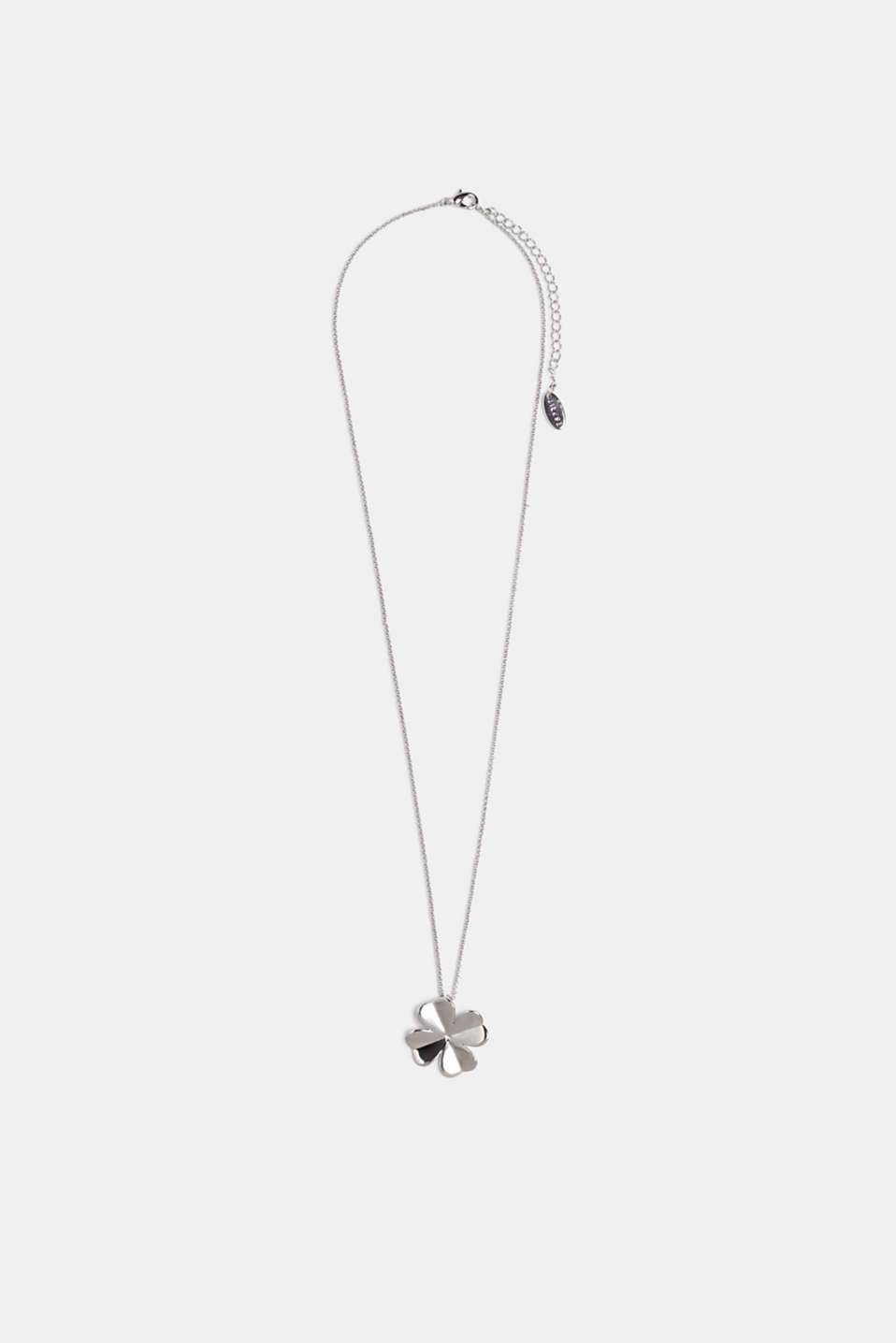 Necklace with a metal clover pendant, SILVER, detail image number 1