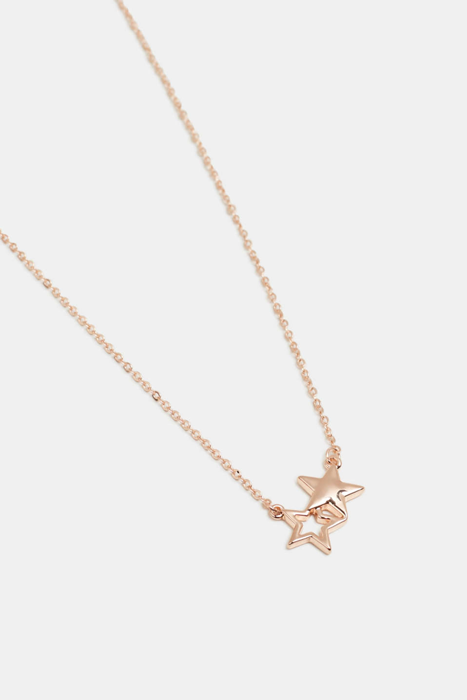Metal necklace with a star pendant, ROSEGOLD, detail image number 1