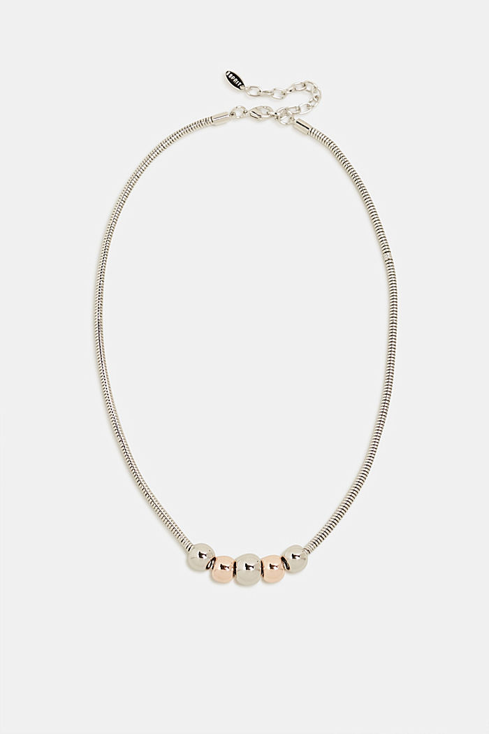 Necklace with metal orbs