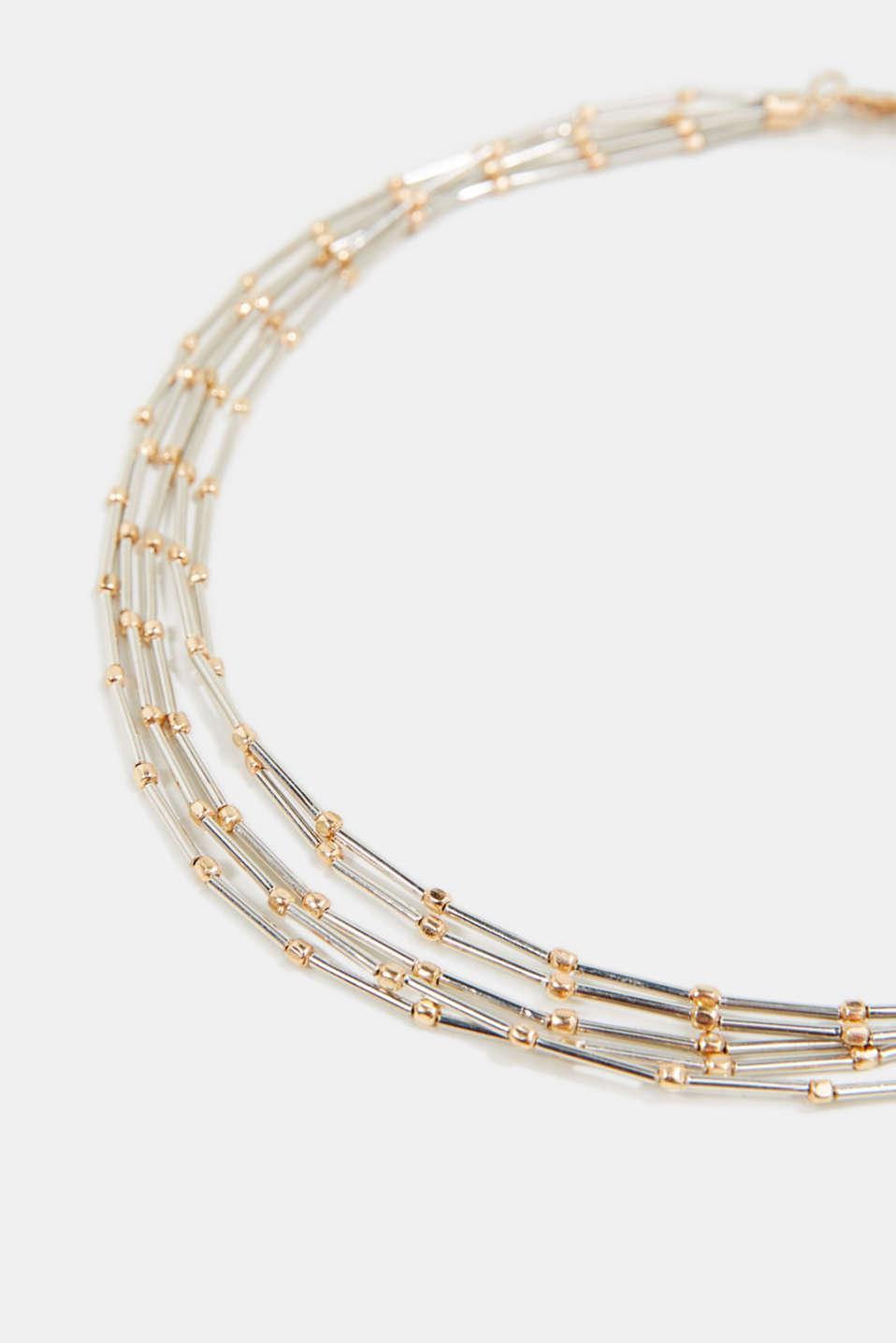 Five-strand metal necklace, 1COLOR, detail image number 1