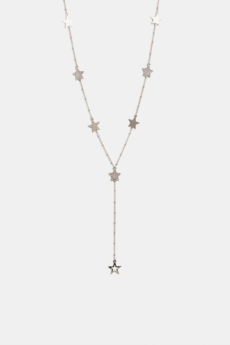 Y-shaped necklace with facet-cut stones, SILVER, detail image number 0