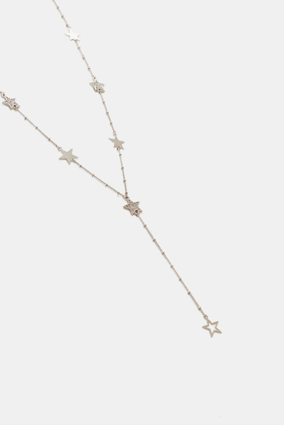 Y-shaped necklace with facet-cut stones, SILVER, detail image number 1