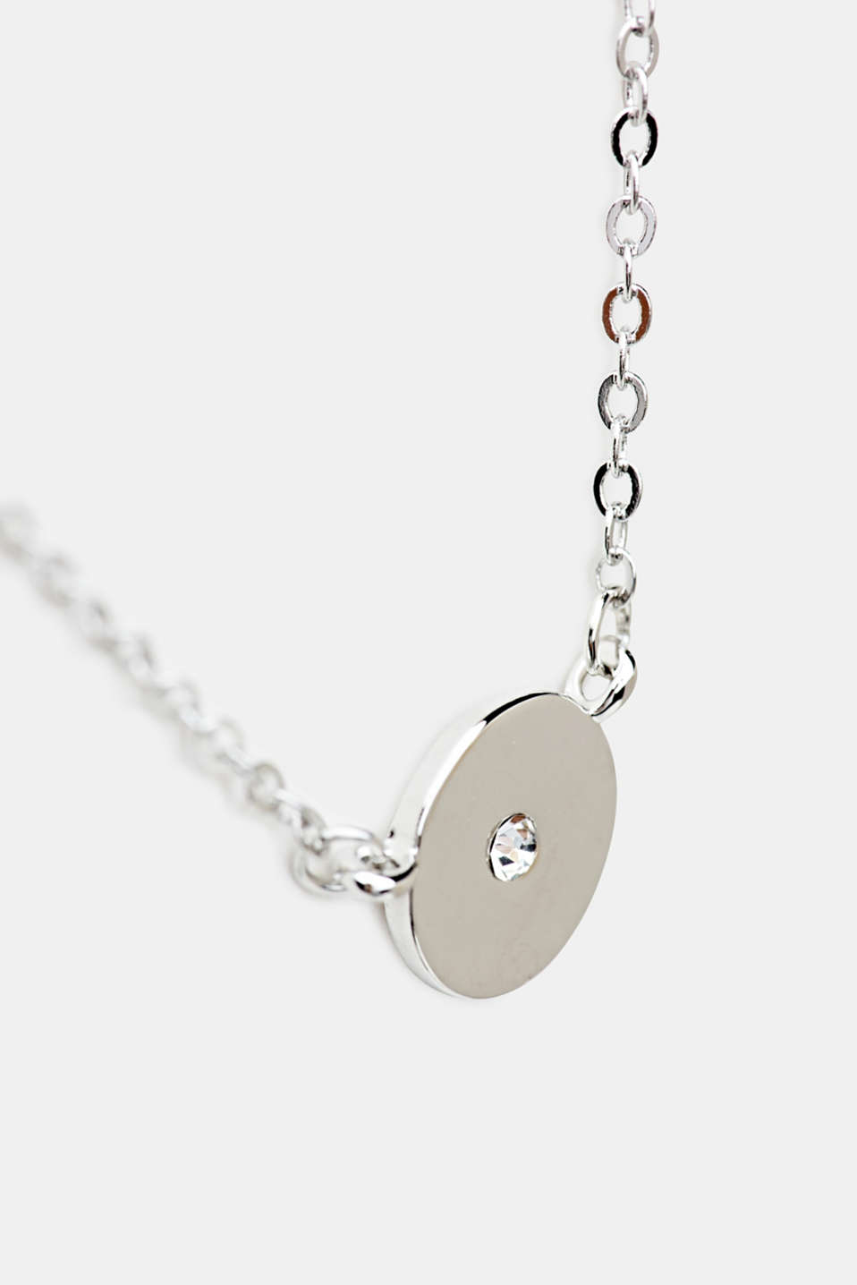 Necklace with a round pendant and a facet-cut stone, LC1COLOR, detail image number 1