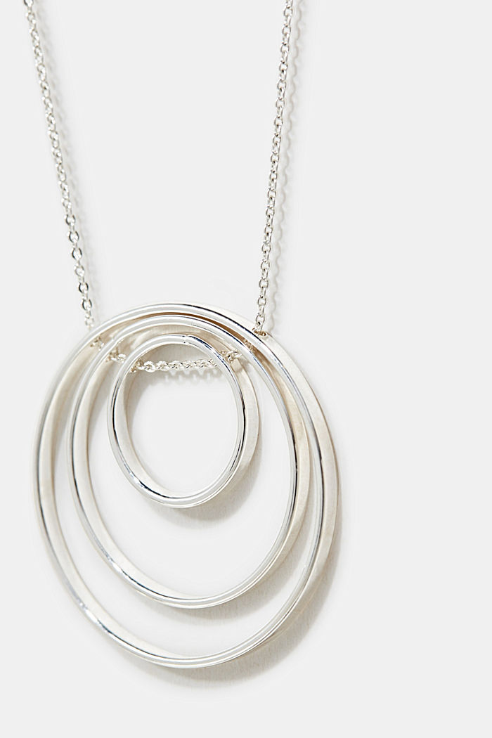 Long necklace with ring pendants, 1COLOR, detail image number 1