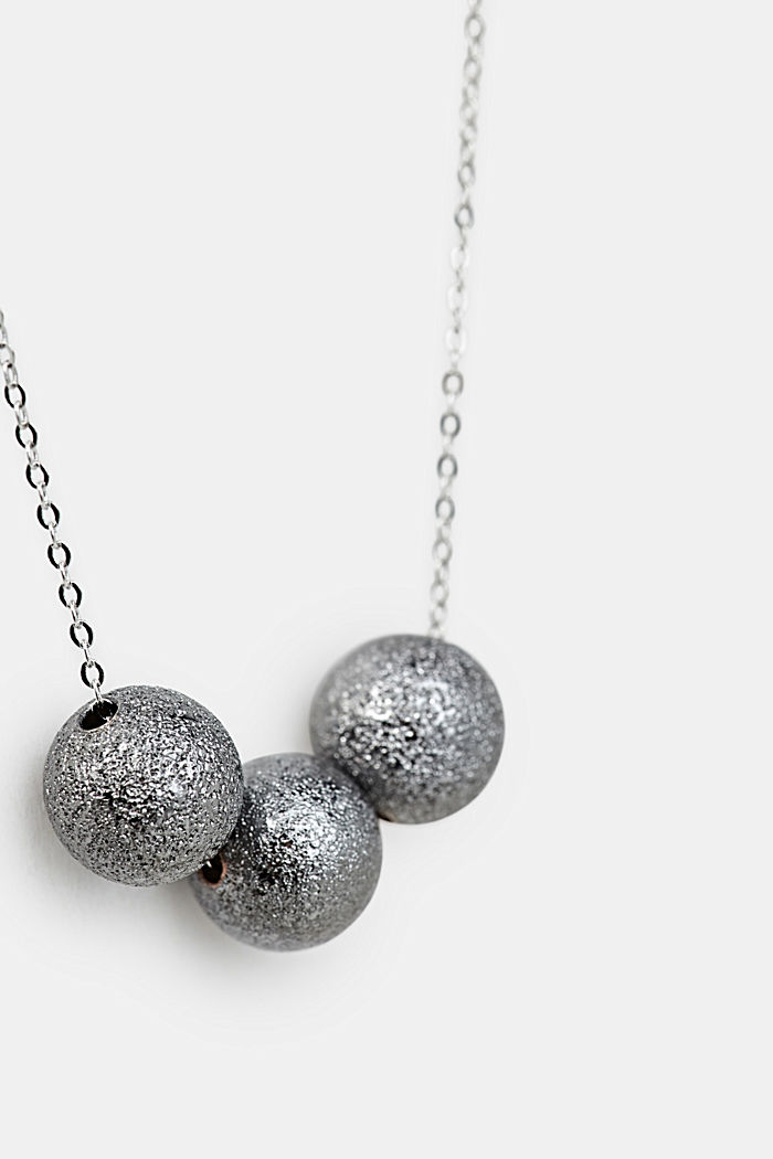 Necklace with a metallic orbs, ONE COLOUR, detail image number 1