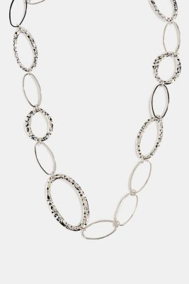 Silver metal necklace with oval links, 1COLOR, detail