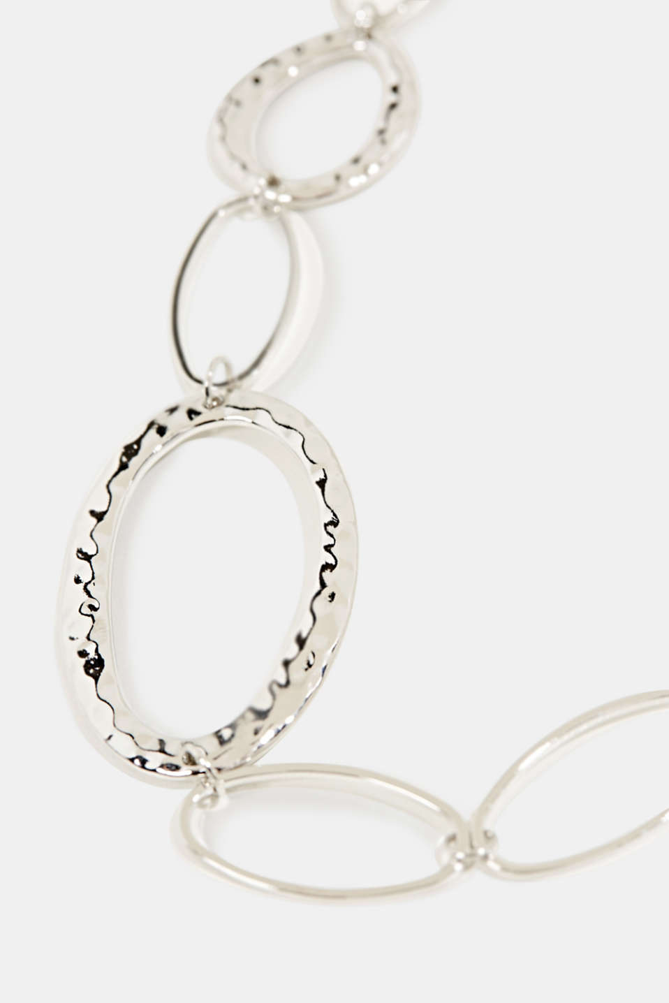 Silver metal necklace with oval links, 1COLOR, detail image number 1
