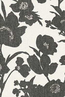 Non-woven wallpaper in a floral design, BLACK/WHITE, detail