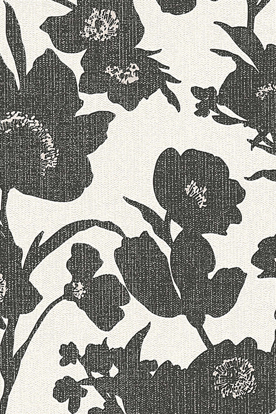 Non-woven wallpaper in a floral design, BLACK/WHITE, detail image number 0