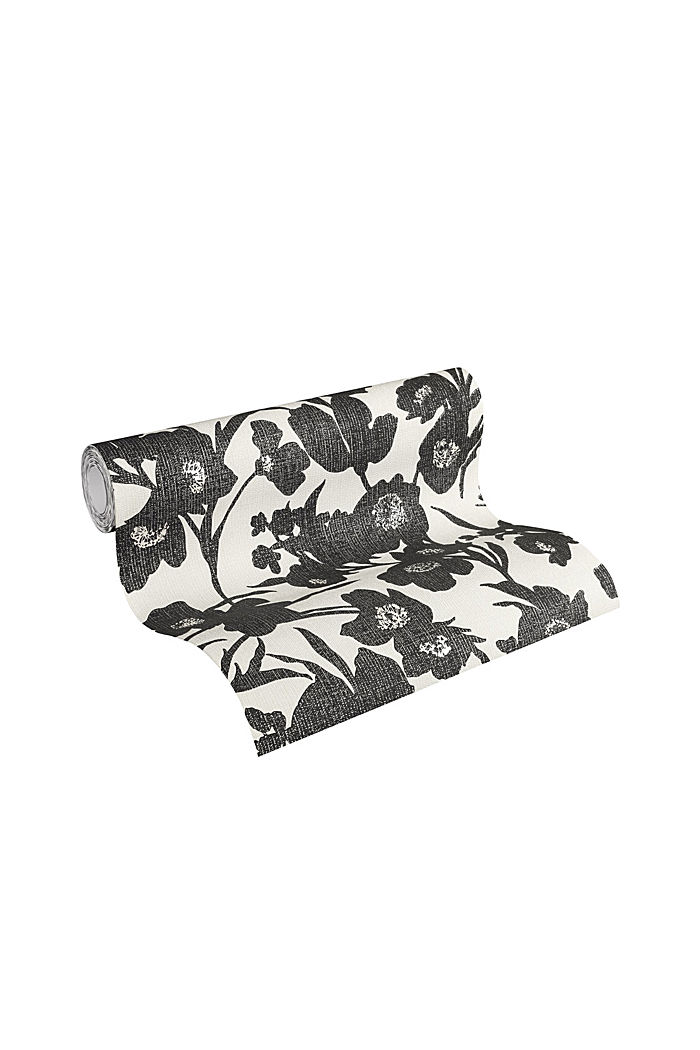 Non-woven wallpaper in a floral design, BLACK/WHITE, detail image number 1