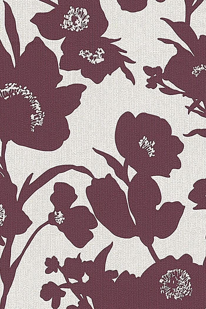 Vlies-Tapete mit floralem Design, BURGUNDY, detail image number 0
