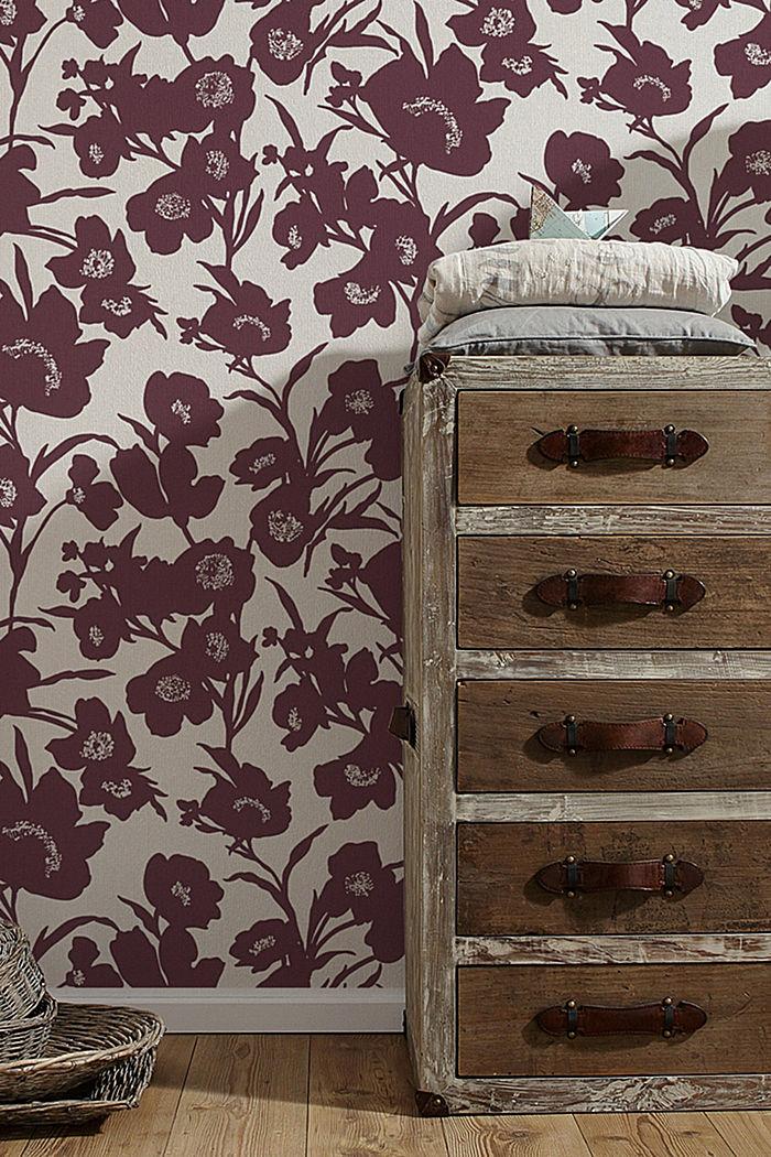 Vlies-Tapete mit floralem Design, BURGUNDY, detail image number 2