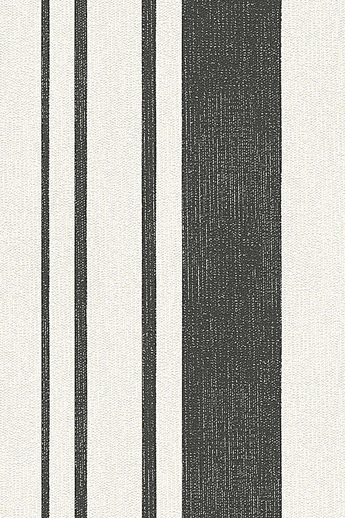 Non-woven wallpaper with block stripes, BLACK/WHITE, detail image number 0