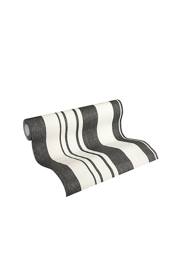 Non-woven wallpaper with block stripes, BLACK/WHITE, detail image number 1
