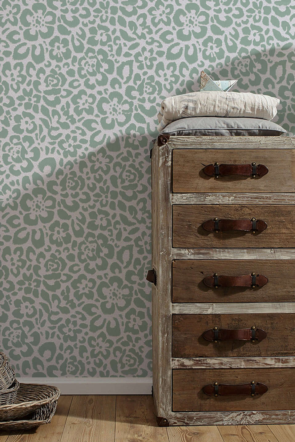 Non-woven floral wallpaper, MINT, detail image number 2