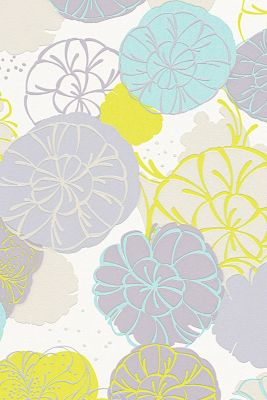 Non-woven floral pattern wallpaper, GREEN/GREY/TURQUOISE, detail