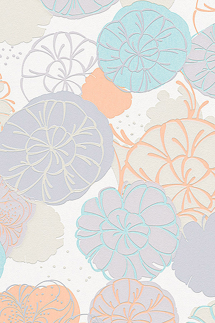 Non-woven wallpaper with floral pattern, ORANGE/TURQUOISE, overview