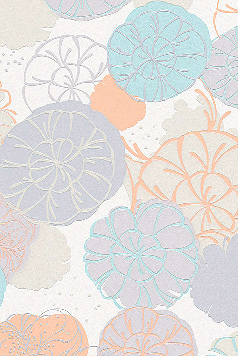 Non-woven wallpaper with floral pattern, ORANGE/TURQUOISE, detail image number 0