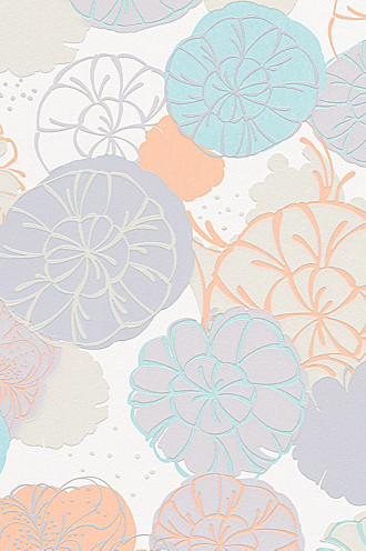 Non-woven wallpaper with floral pattern