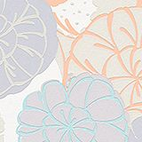 Non-woven wallpaper with floral pattern, ORANGE/TURQUOISE, swatch