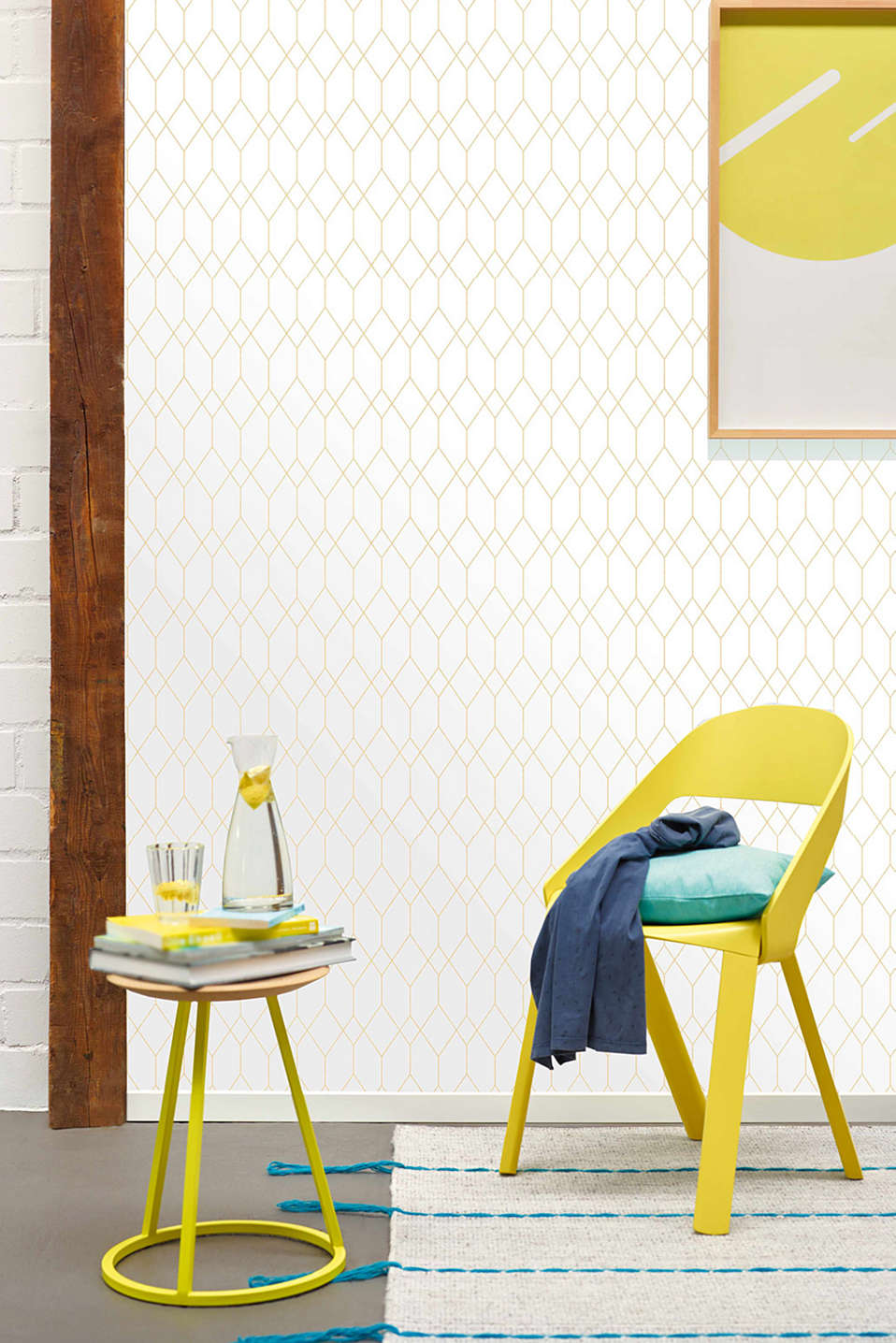 Wallpaper with geometric pattern, GOLD/WHITE, detail image number 3