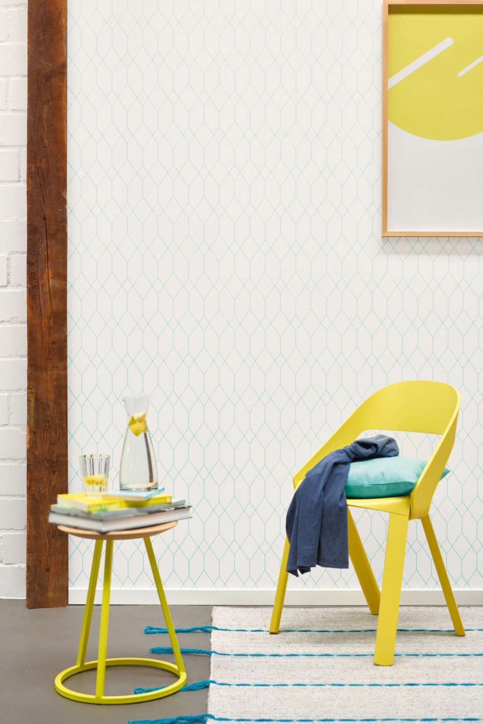 Wallpaper with geometric pattern, WHITE, detail image number 2
