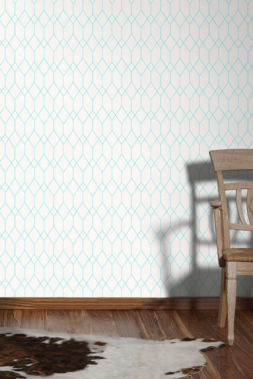 Wallpaper with geometric pattern, WHITE, detail image number 3