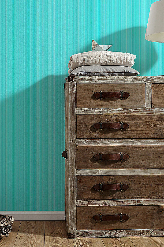 Wallpaper with fine vertical stripes, TURQUOISE, detail image number 2