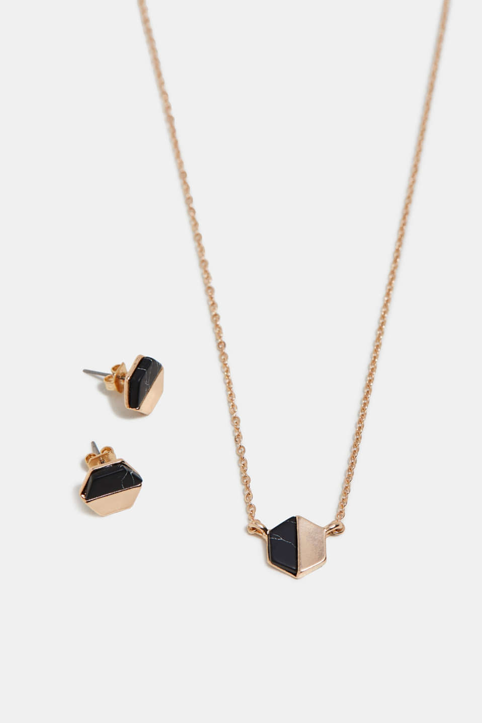 Gold-tone stud earring and necklace set