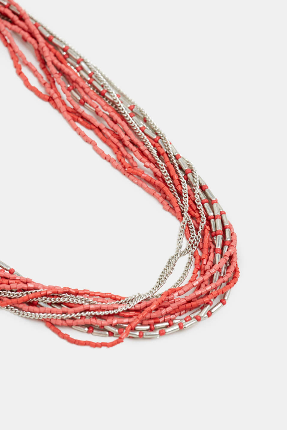 Multi-strand necklace with beads, RED, detail image number 1