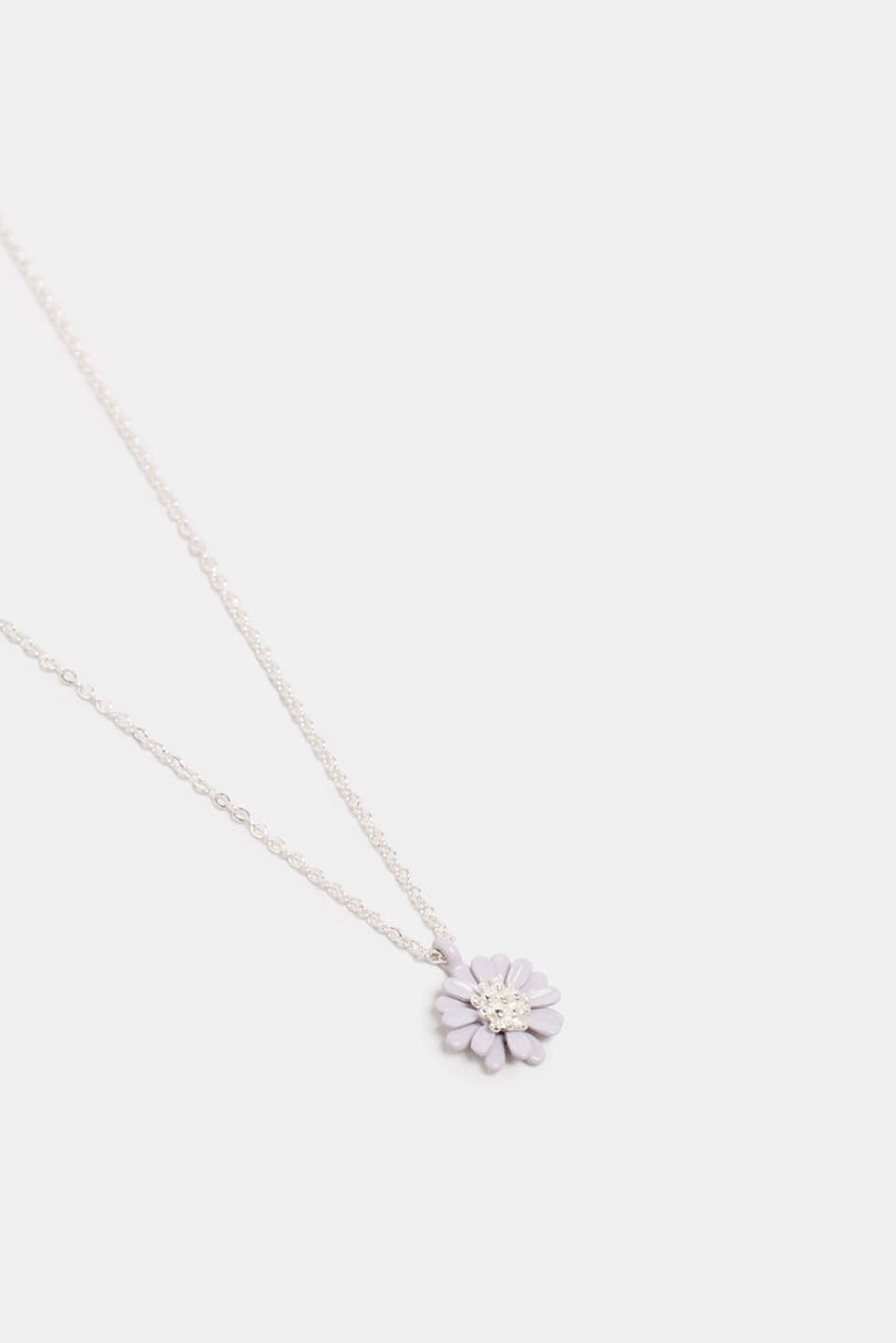 Necklace with a floral pendant, GREY, detail image number 0