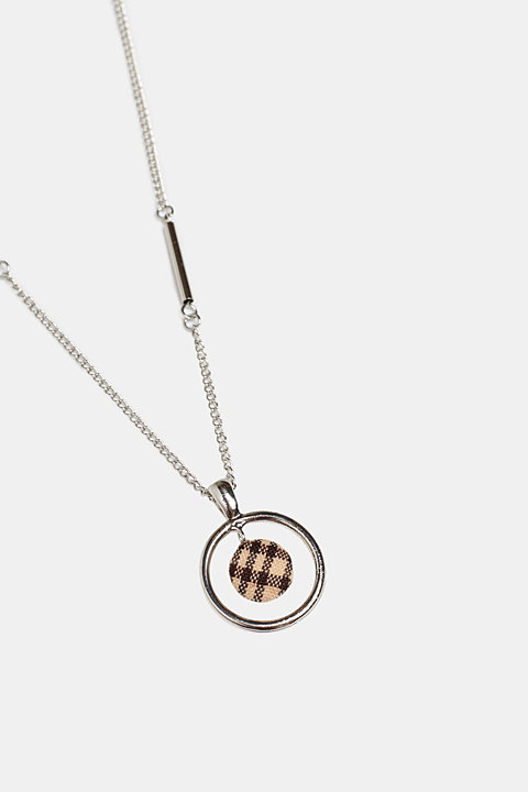 Necklace with a check fabric pendant