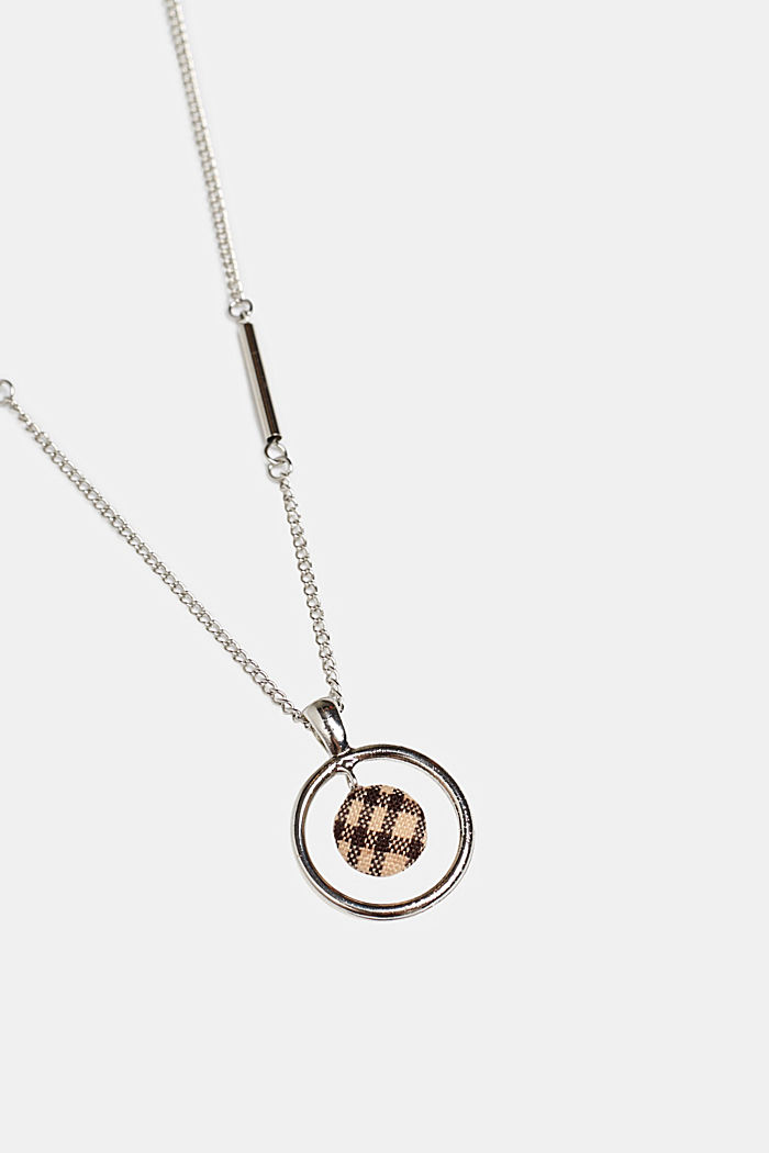 Necklace with a check fabric pendant, SILVER, detail image number 0
