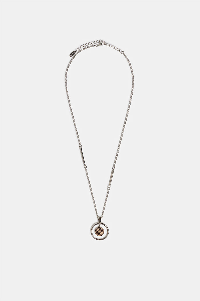 Necklace with a check fabric pendant, SILVER, detail image number 1