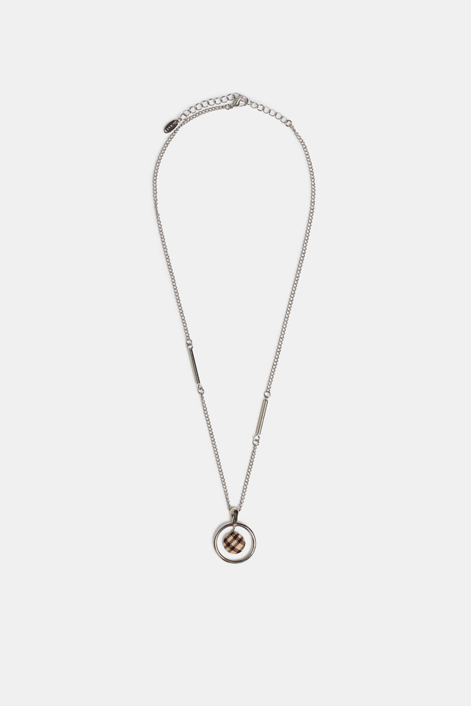 Necklace with a check fabric pendant, BROWN, detail image number 1