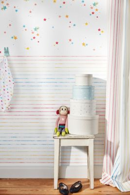 Wallpaper with colourful stars, paper, one colour, detail