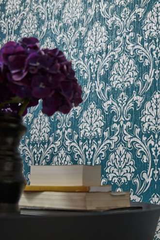 Patterned non-woven textile wallpaper