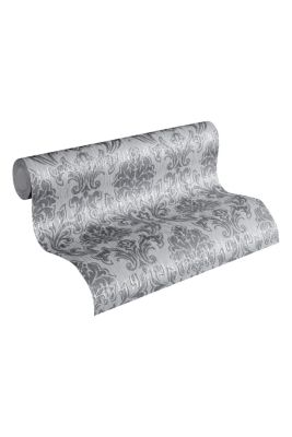 Patterned non-woven textile wallpaper, one colour, detail