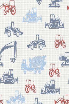 Tractor motif non-woven textile wallpaper, one colour, detail